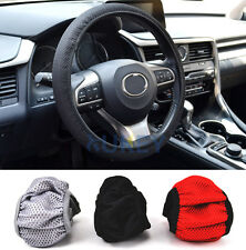 Breathable Auto Car Steering Wheel Cover Glove Cover Black Gray Red Non-slip