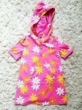 Baby Gap Girls Hooded Floral Pink Dress Short Sleeves Front Pockets Size 4T NWT