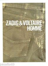 PUBLICITE ADVERTISING 1016  2012  les jeans homme Zadig & Voltaire