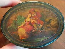 Antique hand painted paper mache tole box Italian courting scene with borzoi dog