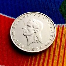1934 F 2 mark WWII German Silver Friedrich Von Schiller Third Reich Coin