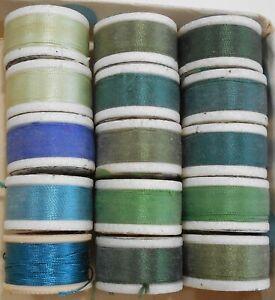 15 Spools Silk Buttonhole Twist Thread Blues/Greens 14 Talon / 1 Coats & Clark