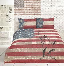 New Retro USA Vintage Flag New York SINGLE Size Quilt Doona Duvet Cover Set