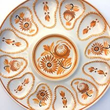 "Large Henriot Quimper Oyster Plate 13"" Autumn Fall Thanksgiving Table Faience"