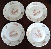 "Set Of 4 arc Arcopal France Flowers Plates scalloped rim 10"""