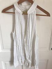 Woman's Wallis White Sleeveless Wrap Stretch Sleeveless Blouse Top Size M 12-14