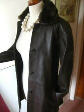 Ladies M&S real leather TRENCH COAT UK 10 12 long line faux fur collar duster
