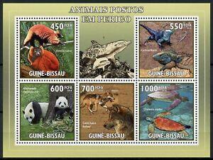 Guinea-Bissau Wild Animals Stamps 2010 MNH Pandas Lemurs Turtles Lizards 5v M/S