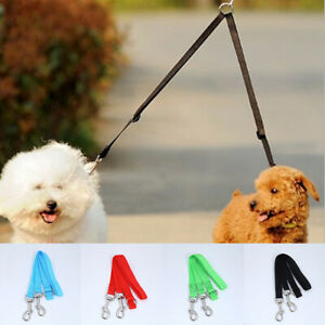 Hauling Cable Nylon Double Dog Lead Coupler Reflective Training Lead For 2 Dogs