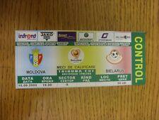 10/09/2003 Ticket: Moldova v Belarus [At Complexul Sportiv Sheriff Tiraspol] . T