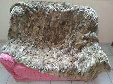 Natural Brown Rex Rabbit Fur Throw 100% Real Rex Fur Bedspread / Blanket