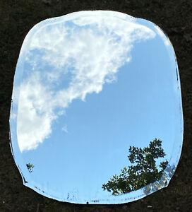 "Antique Vintage Frameless Beveled Mirror  Scalloped Art Deco Cut Glass 28"" x 22"""