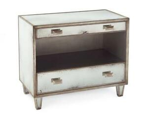 """35"""" W Dresser Nightstand Parisian Silver Finish Foxed Mirror Fronts Tapered Legs"""