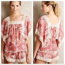 Anthropologie Nella Top Floral Lace Size XS
