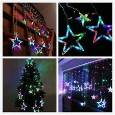 2 x 1m LED Sternen Lichterkette Bunt Weihnachtsbeleuchtung Vorhang Deko 138LEDs
