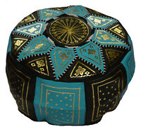 Ottoman Footstool Poof Moroccan Hand Made Leather Pouf Hassock Black/Turquoise