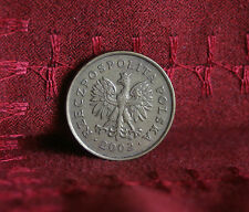 2002 Poland 5 Groszy World Coin Brass Y278 Polska Eagle Wings Polish Oak Leaves