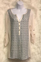 BOB TIMBERLAKE Women's 3/4 Sleeve Cream/Teal Embroidered Knit Top Sz L - NWT