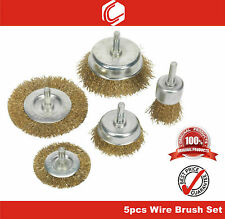 """5pcs Wire Brush Set – remove clean dirt paint rust residue - 1/4""""(6mm) shank"""