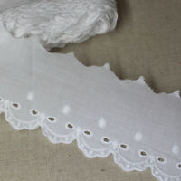 14Yds Embroidered Broderie Anglaise cotton lace trim 6cm YH1386 lacekingUSA