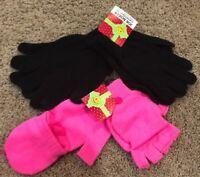 Girls Black Joe Boxer Texting Neon Pink Flip Top Gloves 3 Pair