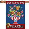 Toland American Welcome 28 x 40 Colorful Patriotic USA Double Sided House Flag