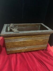 ANTIQUE WATER CLOSET WOOD TOILET HIGH TANK COPPER LINED WOODEN OAK