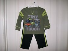 BABY GEAR 2-PC.BOYS TINY & TOUGH SHIRT & PANTS SET SIZE 12 MONTHS