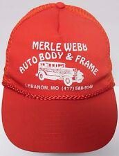 Vtg 1990s MERLE WEBB AUTO BODY & FRAME Lebanon MO Advertising SNAPBACK HAT CAP