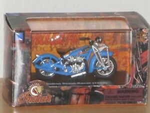 New Ray Indian Scout Racer 1929 Motorcycle Authentic Model Scale 1:32 Blue New