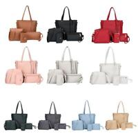4pcs/Set Lichi Women Leather Bag Tote Shoulder Handbag Messenger Clutch Card