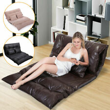 Foldable Floor Sofa Bed Living Room Furniture Lounge Bed Video Game w/ 2 Pillows