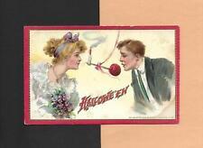 LOVERS Play BITE-THE-APPLE On Authentic Vintage TUCK Unused HALLOWEEN Postcard