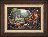 Thomas Kinkade Snow White and the Seven Dwarfs 18 x 27 S/N Canvas (Walnut Frame)