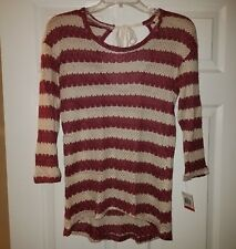 NWT Maison Jules Womens Striped Shimmer Hi-Low Back Tie Shirt Top Size XS XSmall