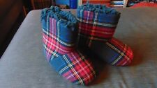 M&S Fleece Lined Checked Pull On Boot Slippers UK 9 EU 27(Infants) Blue Mix BNWT