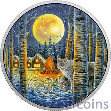 Canada 2017 Lynx Animals in Moonlight Glow in Dark $30 Pure 2 Oz Silver Coin