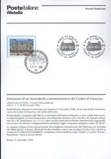 ITALIE 2006 TOMBÉ NASSIRIYA BULLETIN COMPLET DE TIMBRES FDC