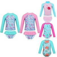 Kids Baby Girls UV Sun Protection Rash Guard Swimwear Long Sleeve Swimsuit 0-8Y