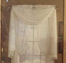 Set Of 3 Extra Long Cream Colored Sheer Window Treatment Scarves. Victorian