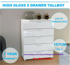 Tallboy Elisha High Gloss 5 Drawer  storage Chest Dresser-WHITE FZ12797M-W