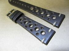 21mm Genuine Black Euro Leather Watch Band Made In Italy Perforated Rally Sports