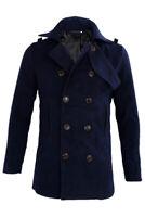 Maenner schlank stilvollen Trenchcoat Winter lange Jacke zweireihig Mantel Du SX
