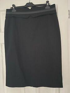 Karen Millen Black Skirt Size 16 With Leather Trim Waistband