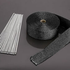 15M Black Exhaust Heat Wrap Manifold Downpipe High Temp Bandage Tape Roll