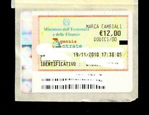 MARCA DA BOLLO PER CAMBIALI DA €.12,00 DATATA 19.11.2010, SUL SUPPORTO ORIGINALE
