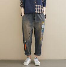 Women's Embroidered Harem Pants Vintage Loose Elastic Waist Drawstring Trousers