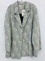 Everleigh Womens Plus Sz 2X Ivory Black Floral Blazer Jacket NWT