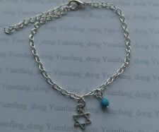 Small Star of Davis charm Blue Bead Silver Tone Ankle Bracelet Foot Chain Beach