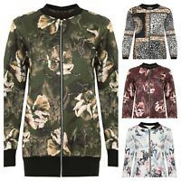 Plus Size Womens Zip Bomber Jacket Ladies Floral Print Long Sleeve Stretch
